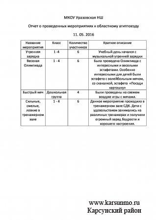 МКОУ Уразовская НШ Отчет о проведенных мероприятиях к областному агитпоезду  11. 05. 2016