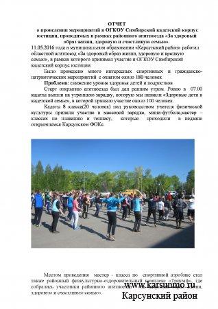 ОТЧЕТ  о проведении мероприятий в ОГКОУ Симбирский кадетский корпус юстиции, проводимых в рамках районного агитпоезда «За здоровый образ жизни, здоровую и счастливую семью».